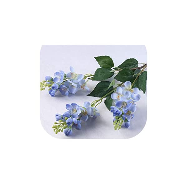 Artificial Hyacinth/Delphinium Silk Flowers Lilac with Greenery Branches for Home Party Garden Decoration Crafting Displaying,Blue