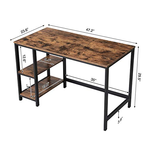 VASAGLE Industrial Writing, Computer, 47'' Office Study Desk with 2 Storage Shelves on Left Right, Stable Metal Frame, Easy Assembly ULWD47X, Rustic Brown by VASAGLE (Image #6)