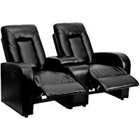 MFO Lunar Collection 2-Seat Motorized, Push Button & Automated Reclining Black Leather Theater Seating Unit with Cup Holders