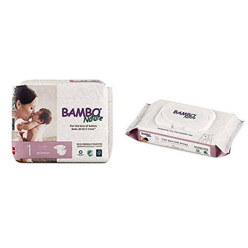 Bambo Nature Premium Baby Diapers, Size 1 (4-11 lbs), 28 Count with Bambo Nature Tidy Bottoms Baby Wipes 50 Sheets
