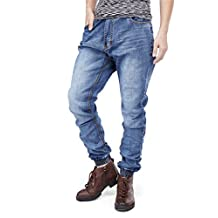 QBO Men's Casual Denim Jeans Joggers Pencil Pants Trousers