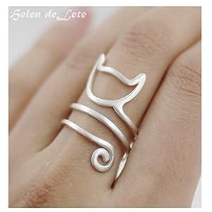 Helen de Lete Innovative Lovely Cat Kitty Sterling Silver Ring (Large Size)
