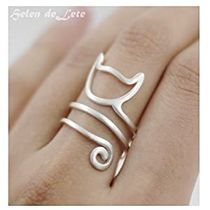 Hi SUMMER JEWELRY Helen de Lete Innovative Lovely Cat Kitty Sterling Silver Ring