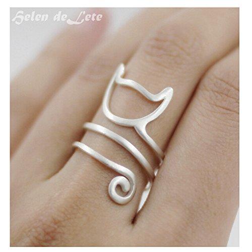 Hi SUMMER JEWELRY Helen de Lete Innovative Lovely Cat Kitty Sterling Silver Ring