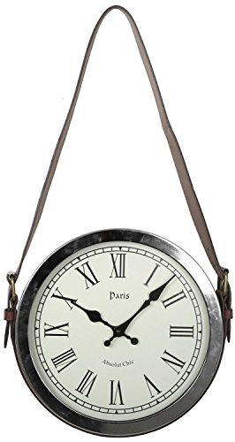 Carousel Home Hanging Wall Clock With Faux Leather Belt Handle 30Cm
