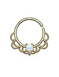 Opal Set Centered Filigree Bendable WildKlass Hoop Rings for Nose Septum, Daith and Ear Cartialge