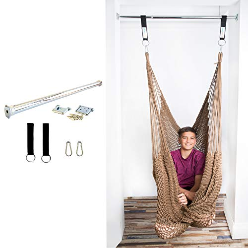 - DreamGYM Therapy Swing with Doorway Support Bar | Net Sensory Swing for Adults and Children | Chocolate