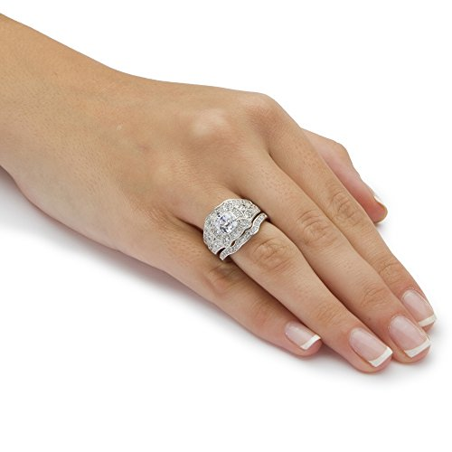 amazoncom white cubic zirconia platinum over 925 silver vintage clover motif 3 piece bridal set jewelry