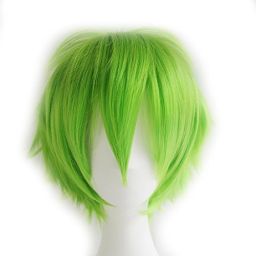 [Probeauty Unisex Basic Short Hair Wig/Wigs Cosplay Party+Wig Cap (Green )] (Short Green Wig)