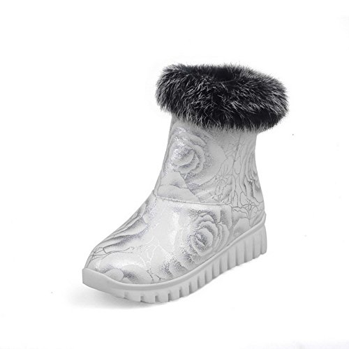 VogueZone009 Women's Assorted Color PU Low-Heels Pull-on Round Closed Toe Snow-Boots, Silver, 41 by VogueZone009