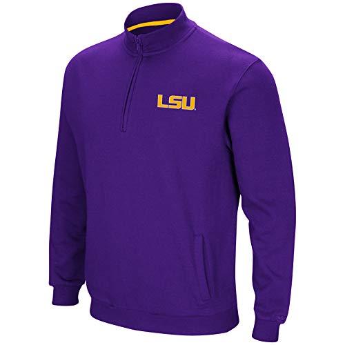 (Colosseum NCAA Men's Tailgater Cotton-Poly Fleece 1/4 Zip Pullover-LSU)