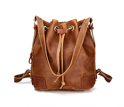 YOURNELO Women's Cute VintageCowhide Leather DrawstringBarrel Backpack Handbag Bucket by YOURNELO