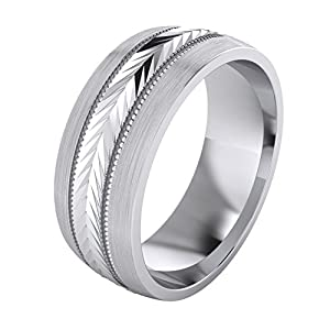 LANDA JEWEL 5 Styles Heavy Solid Sterling Silver Wedding Band Diamond Cut Patterned Ring Comfort Fit Unisex