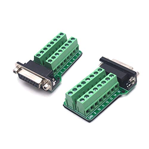 Antrader D-SUB 15pin Connector DB15 Female Adapter RS232 to Terminal Board Signal Module 2-Pack (Block Connector D-sub)
