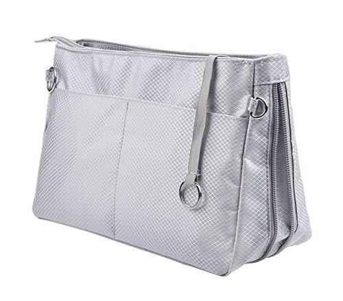 Vercord Expandable Nylon Handbag Purse Organizer Insert Liner Shaper Bag in Bag Beige Grey Large