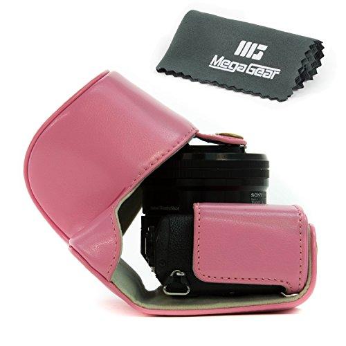 MegaGear Leder Kameratasche Spiegelreflexkamera für Sony Alpha A5000, Sony A5100 mit 16-50mm Objektiv OSS (Rosa)