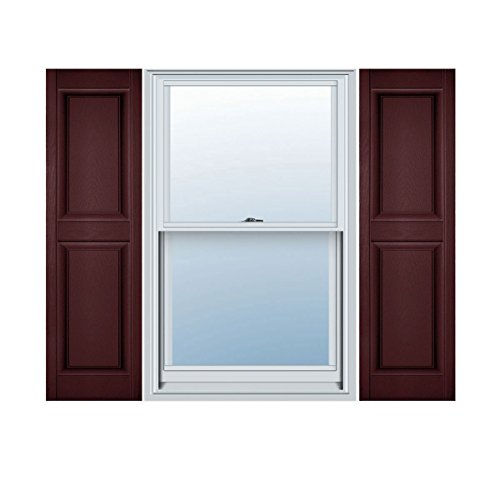 (Ekena Millwork LP2S12X03900BD Lifetime Vinyl Standard Two Equal Raised Panel Shutters, 12