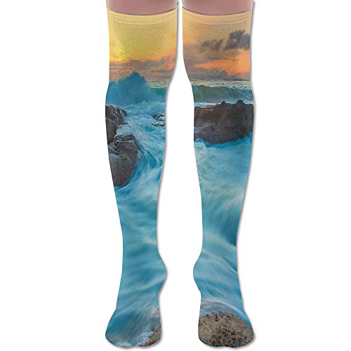 Novelty Ocean Wave Rock Sunset Stylish Premium Quality Over Knee High Sock Athletic Crew Soccer -