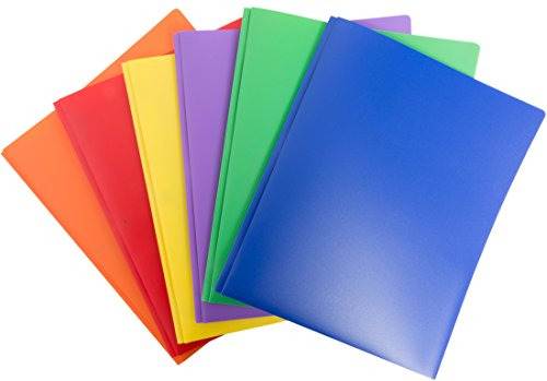Blue Summit Supplies 6 Pack Multicolor Plastic Two Pocket Folders, Plastic Folders 2 Pockets Business Card Slot, 2 Pocket Plastic folders School, Home Work, 6 Pack Plastic folders