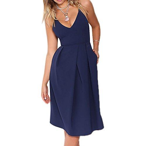 Eliacher Women's Casual Sleeveless Sexy Open Back Summer Dress 6225(S,blue)