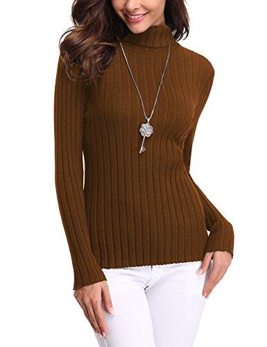 Abollria Women's Long Sleeve Solid Lightweight Soft Knit Mock Turtleneck Sweater Tops Pullover Brown ()