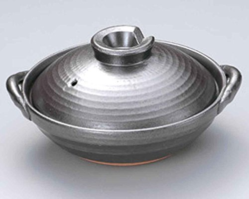 Tetsuyu for 4-5 persons 11.4inch Donabe Japanese Hot pot Grey Ceramic Made in Japan by Watou.asia