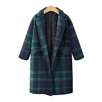 Amazon.com: Winter Fashion Women Plaid Wool Blends Coat