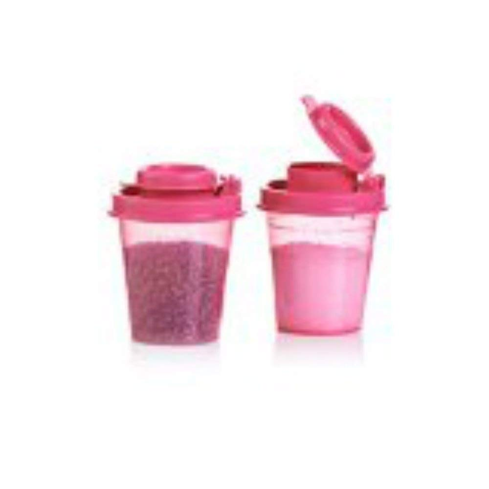 Tupperware Salt Pepper Mini Travel Shakers Midgets Pink NEW