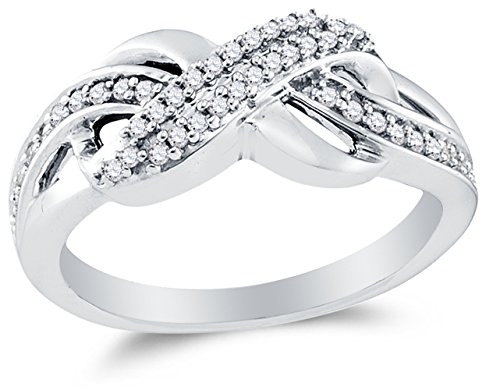 Size 9.75 - 925 Sterling Silver Round Diamond Infinity Fashion Ring - Channel Setting (1/5 cttw.) by Sonia Jewels