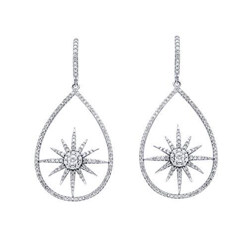 IGI Certified 1.00 Carat Natural Diamond Earrings 10K White Gold (G-H Color, I2-I3 Clarity) Dangling Diamond Earrings…