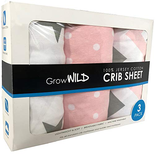 Grow Wild Crib Sheet 3 Pack | 100% Cotton, Jersey Soft | Pink Grey White Set for Baby Girls Boys Bed Mattress | Baby Shower Registry Gift