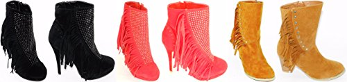 Latest Fashion Women`s Multi Color Strap Fringe Studed Combat Ridding Winter Boot Shoes