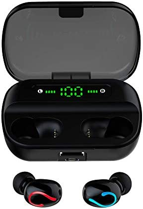 TJK s Wireless Earbuds Bluetooth Earphones with Charging Case. TWS Stereo in Ear Headphones with Noise Cancelling and Built-in Microphone – IPX5 Sweatproof for Workout, Running, Sports, Gym