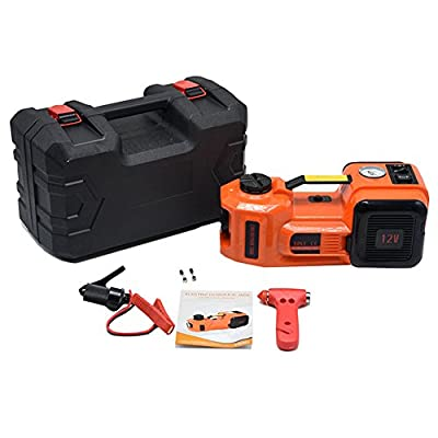 AUTOOL 12V DC 3.5T(7716lb) Electric Hydraulic Auto Floor Lift Jacks Tire Inflator Pump LED Flashlight 3 in 1 Set With Safe Hammer Electric Car Lift Jack and Electric Impact