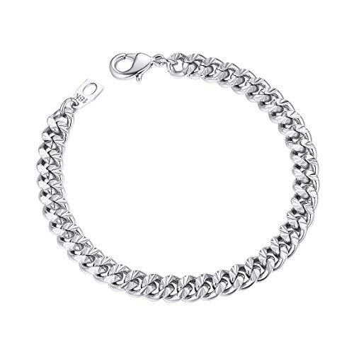 Cuban Chain Bracelet Women Men 7mm 21CM Platinum Plated Mens Jewelry Boys Gift Silver Color