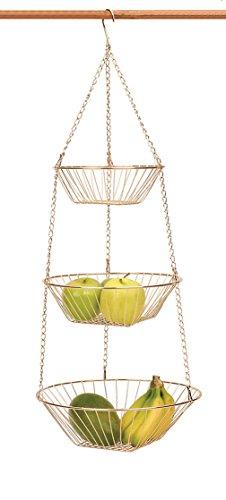 Copper 3 Tier Hanging Basket Metal Basket Fruit Vegetable Kitchen Versatile NEW (Baskets Hanging Copper)