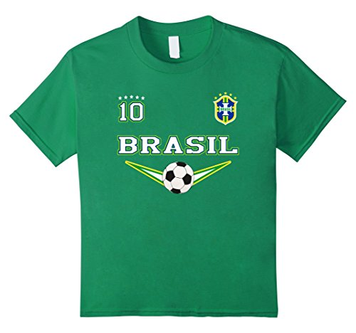 Kids Brazil Soccer Tshirt with number 10 for kids n adults 4 Kelly - Brazil Shirts Football