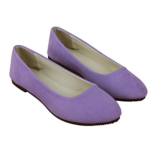 Stunner Women Cute Slip-On Ballet Shoes Soft Solid Classic Pointed Toe Flats by Light Purple 42 -