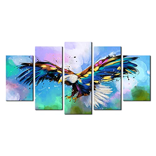 sechars - Large 5 Piece Canvas Wall Art American Bald Eagle Painting Pictures for Wall Colorful Animal Canvas Art Prints Modern Home Office Decoration Framed Ready to Hang ()