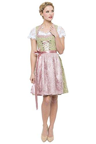 Bergweiss Trachten Damen Mini Dirndl Resi grün/rosa D010267