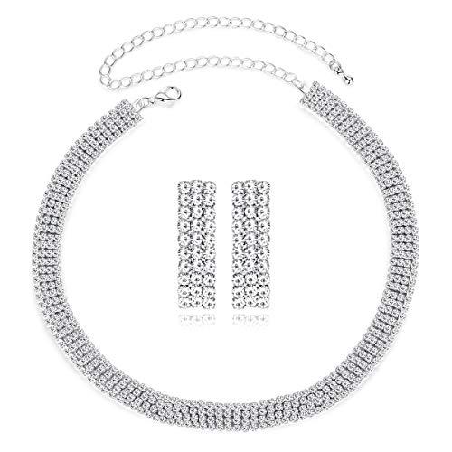 mecresh 4 Row Choker 3 Row Earring Set Crystal Rhinestone Jewelry Set Bridal Wedding Party (Necklace Earrings Set) ()