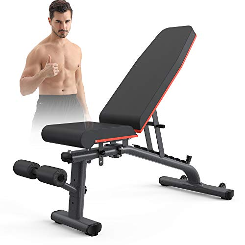 KingStone Adjustable Weight Benches for Full Body Workout with Ultra-wide Frame Strength Training Incline Flat Decline…