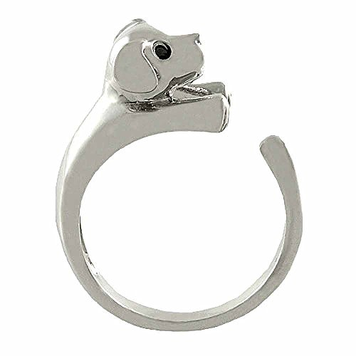 Ellenviva Enhanced Puppy Dog Animal Wrap Ring White Gold-Plated Shiny Silver Tone- Size 5 ()