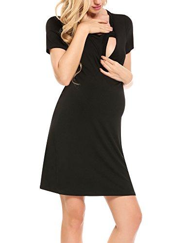 Hotouch Women's Maternity Dress Nursing Nightgown for Breastfeeding Short/Long Sleeve Nightshirt Sleepwear S-XXL