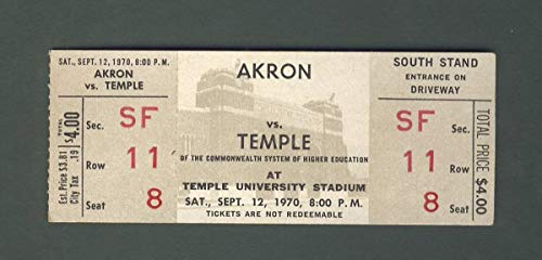 Akron vs Temple Football Game Full Unused Ticket 09-12-1970 142226