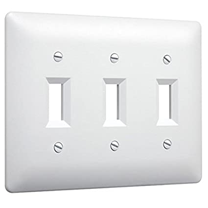 Taymac 4440W Paintable Triple Toggle Light Switch Wall Plate Cover, White,  3 Gang