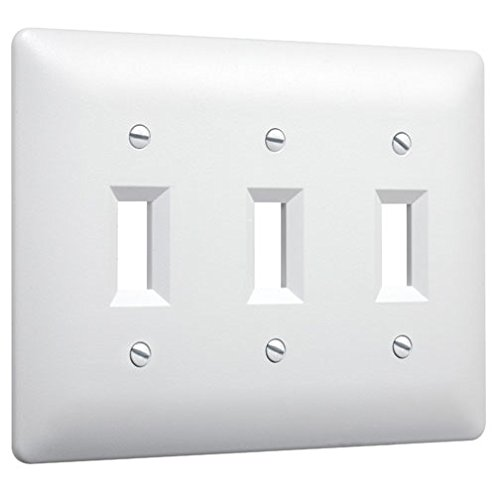 White Toggle Switchplate - Taymac 4440W Paintable Triple Toggle Light Switch Wall Plate Cover, White, 3-Gang