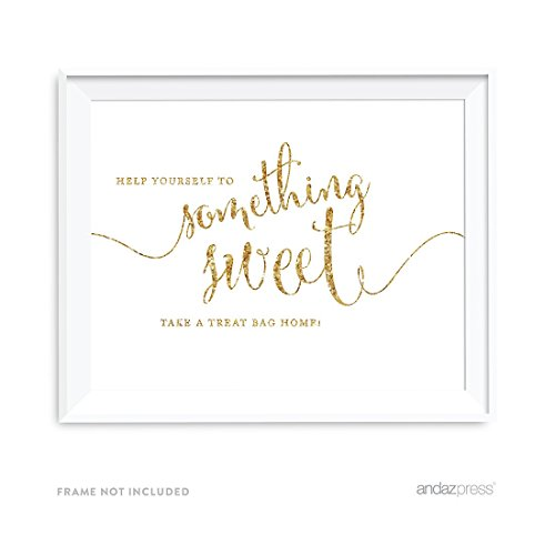 Andaz Press Wedding Party Signs, Gold Glitter Print, 8.5x11-inch, Please Help Yourself to Something Sweet and Take a Treat Bag Home Dessert Table Sign, 1-Pack, Not Real Glitter