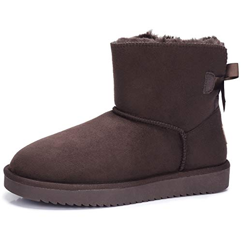 CAMEL CROWN Women's Warm Winter Boots Ankle High Classic Vegan Suede Warm Faux Sheepskin Shearling Snow Boots