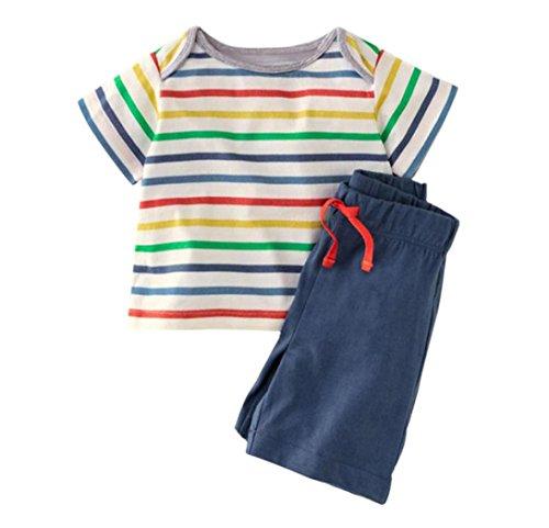 T-shirt Rainbow Shorts (Winsummer Little Boys' Baby Toddler Kids Cotton Summer Cartoon Whale Elephant T-Shirt Stripe Shorts 2pcs Set Outfit (Rainbow, 12M))